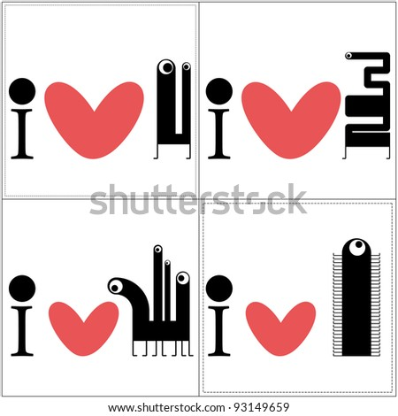 Monsters with heart - stock vector