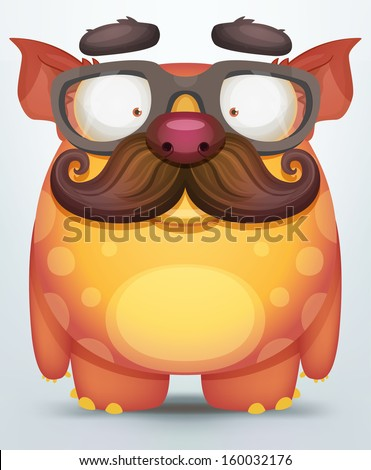 Monsters with moustaches - stock vector