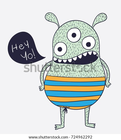 Creative Ideas Monsters With Three Eyes Are Greeting School FriendsCartoon Animals The Cute Monster Vector Character