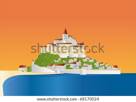 Mont St Michel at sundown ( background on separate layer) - stock vector