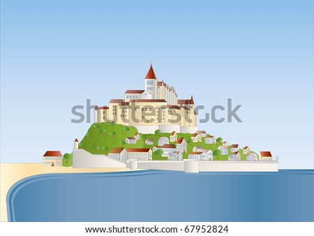 Mont St Michel ( background on separate layer ) - stock vector