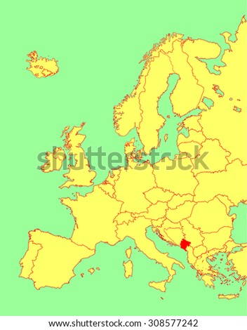 Montenegro vector map, Europe, vector map silhouette illustration isolated on Europe map. Editable blank vector map of Europe.  - stock vector
