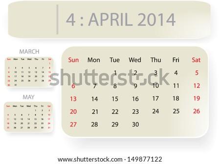 Month April 2014 Calendar Template Background Stock Vector 2018