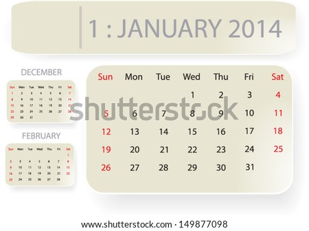 Month January 2014 Calendar Template Background Stock Vector