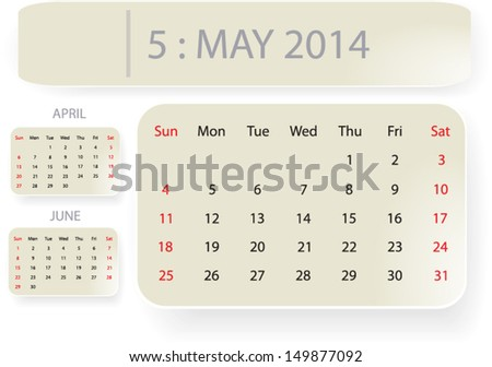 Month May 2014 Calendar Template Background Stock Vector 149877092