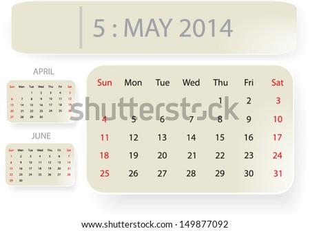 Month may 2014 calendar template background stock vector 149877092 month of may 2014 calendar template background with simple classic paper bubble design vector eps10 saigontimesfo