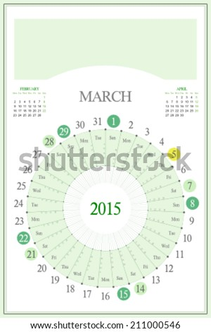 Monthly calendar for 2015. Highlighted saturday, sunday, full moon (UTC). 3:2 aspect ratio. Editable. Blank space for logo or image on the top. March. - stock vector