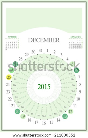 Monthly calendar for 2015. Highlighted saturday, sunday, full moon (UTC). 3:2 aspect ratio. Editable. Blank space for logo or image on the top. December. - stock vector