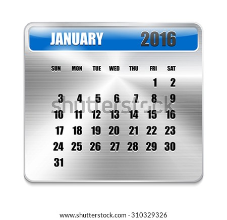 Monthly calendar for January 2016 on metallic plate, orange holidays. Can be used for business and office calendars, website design, prints etc. Vector Illustration - stock vector