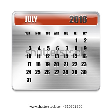 Monthly calendar for July 2016 on metallic plate, orange holidays. Can be used for business and office calendars, website design, prints etc. Vector Illustration - stock vector