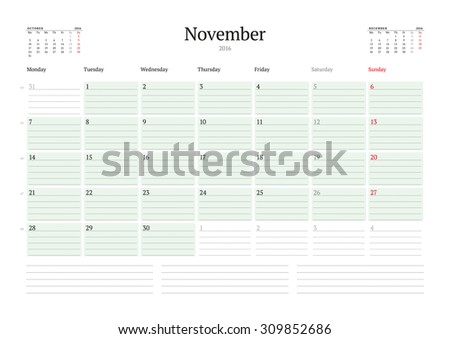 Monthly Calendar Planner 2016. Vector Print Template. November. Week Starts Monday