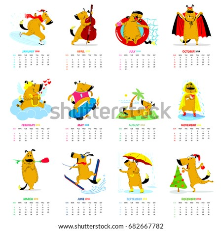Monthly calendar 2018 with cute dogs. Winter, spring, summer, autumn seasons characters. Vector illustration for planner design, cards, printing, wallpaper with animals