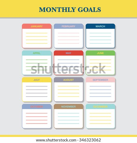 Monthly goals calendar template for year 2016. Colorful blank months organizer, diary, planner for important goals. With place for notes. - stock vector