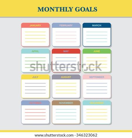 monthly goals calendar template year 2016 stock vector 346323062
