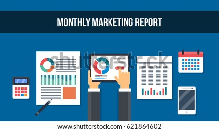 Monthly Marketing Report Monthly Plan Data Stock Vector