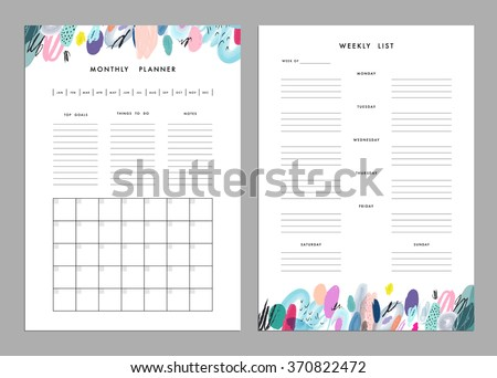 Monthly Planner plus Weekly List Templates. Organizer and Schedule with Notes and To Do List. Vector. Isolated