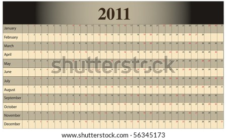 Monthly Scheduling Calendar with weekends identified by red numbers. - stock vector