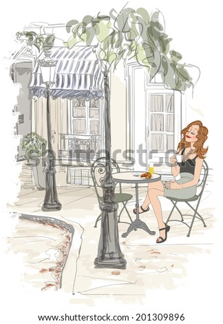 Montmarte in Paris - woman on holiday having breakfast at a terrace of an hotel - vector illustration - stock vector