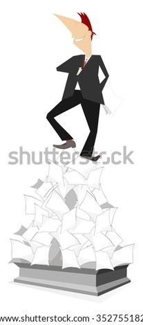 Monument dedicated to bureaucracy. Man stays under a heap of papers and looks like a statue  - stock vector