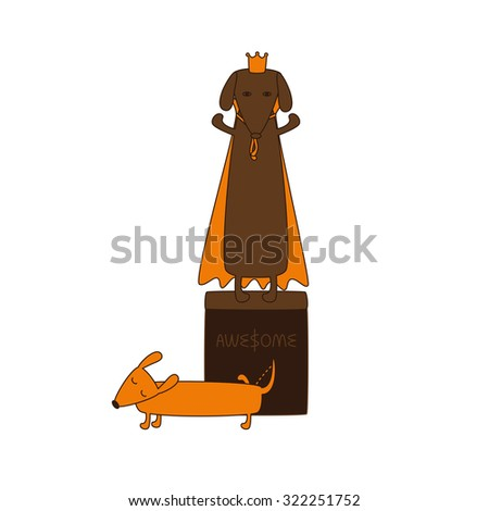 Monument of dog king in crown and mantle and cute cartoon brown contoured foxy colored pissing dachshund with closed eyes, brown nose, one leg up and curled tail isolated on white background - stock vector