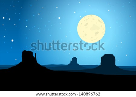 Monument Valley Arizona Against a Starry Night Sky, EPS10 Vector - stock vector