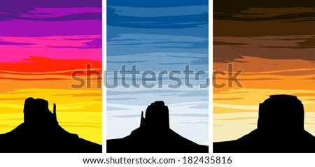 Monument Valley, Utah / Arizona, USA at Sunset and Sunrise - stock vector
