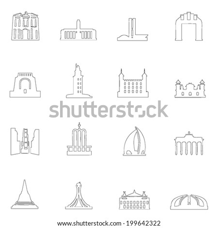Monuments icons line drawing  by hand Set 1 - stock vector
