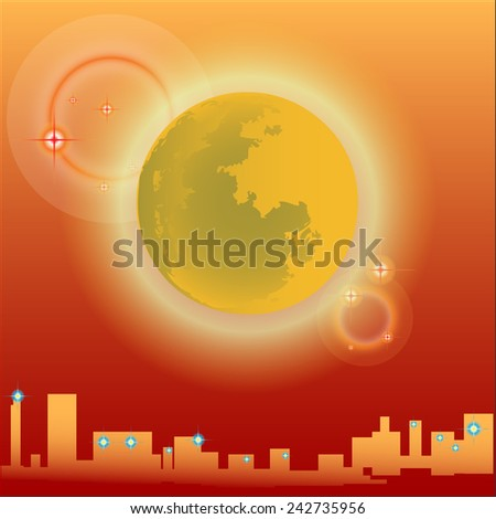 Moon and city in the background orange square. - stock vector