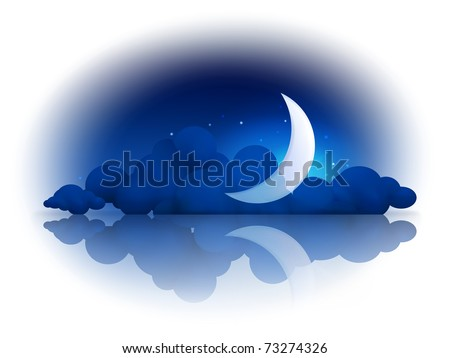Moon and clouds, 10eps - stock vector