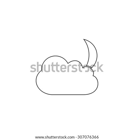 Moon and clouds. Outline black simple vector pictogram - stock vector