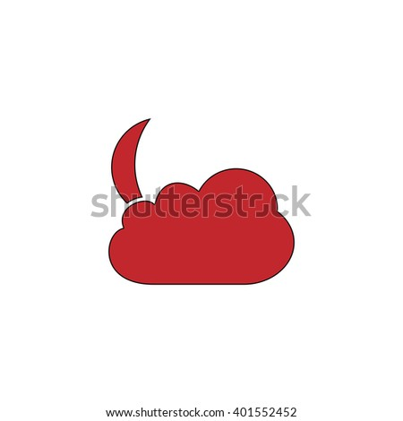 Moon and clouds. Red flat simple modern illustration icon with stroke. Collection concept vector pictogram for infographic project and logo - stock vector