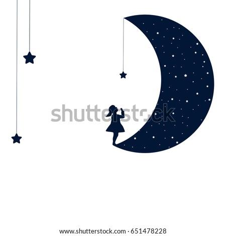 Moon Dreaming Baby Girl Concept Idea Stock Photo Photo Vector