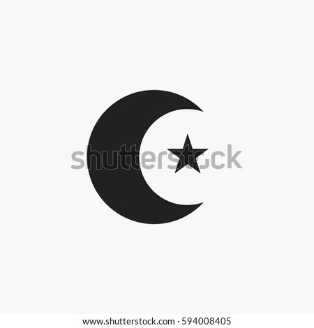Moon Star Icon Islam Symbol Stock Vector Royalty Free 594008405