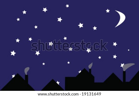 Moon and stars above the city