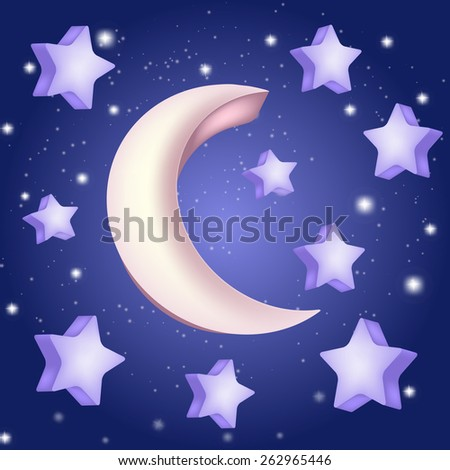 moon and stars illustration - stock vector