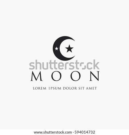 Moon Stars Logo Islam Symbol Stock Vector Royalty Free 594014732