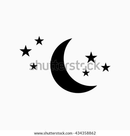 moon stars icon moon stars vector stock vector 459486604