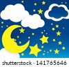 Moon and stars with white clouds - stock vector