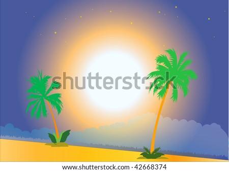 moon and tropic sky , VECTOR - stock vector