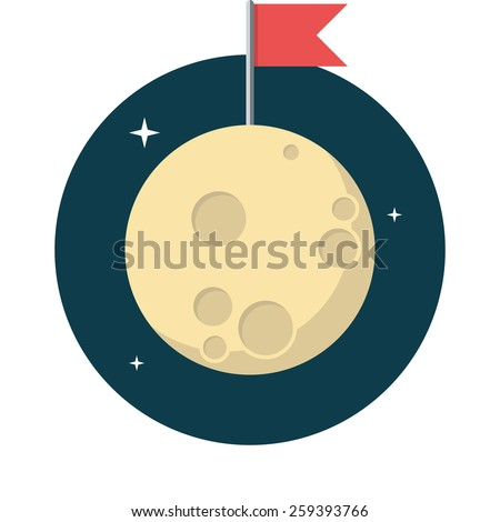 Moon, Flat design, vector illustration, isolated on white background - stock vector