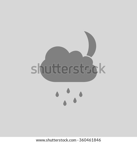Moon - Grey flat icon on gray background - stock vector