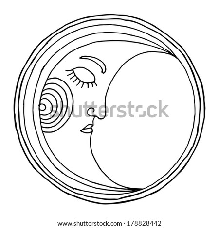 Moon illustration on simple white background - stock vector