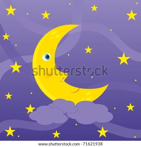 Moon in the night sky - stock vector
