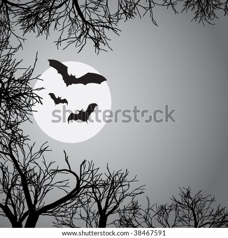 Moon light background with bats - stock vector