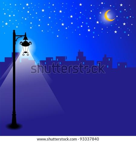 Moon Light Street - stock vector