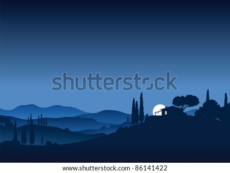 moon night in tuscany - stock vector