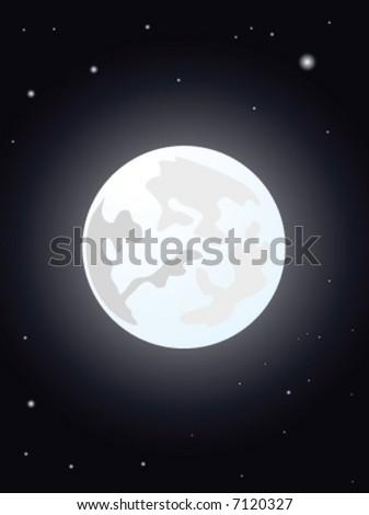 moon night vector illustration - stock vector
