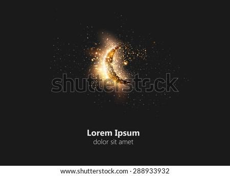 Moon on white background easy all editable  - stock vector
