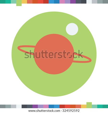 Moon orbiting red planet icon. - stock vector