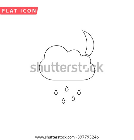 Moon Outline vector icon. Flat line symbol pictogram  - stock vector